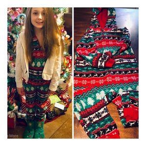 7/8 Girl's Christmas Holiday Zipper Onesie Pajamas